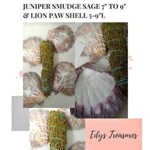 "Juniper Smudge 7"" to 9"" & Lion Paw Shell 5-9"""